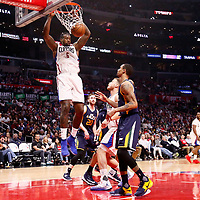 25 March 2016: LA Clippers center DeAndre Jordan (6) dunks the ball during the Los Angeles Clippers 108-95 victory over the Utah Jazz, at the Staples Center, Los Angeles, California, USA.