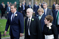 © Licensed to London News Pictures. 20/06/2016. London, UK. British prime minister DAVID CAMERON and Labour Party leader JEREMY CORBYN arrive at St Margaret's Church, Westminster Abbey to take part in a Service of Prayer and Remembrance to commemorate Jo Cox MP, who was killed in her constituency on June 16, 2016. Photo credit: Peter Macdiarmid/LNP