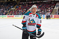 KELOWNA, CANADA - JANUARY 5:Carsen Twarynski #18 of the Kelowna Rockets skates to the bench against the Seattle Thunderbirds on January 5, 2017 at Prospera Place in Kelowna, British Columbia, Canada.  (Photo by Marissa Baecker/Shoot the Breeze)  *** Local Caption ***