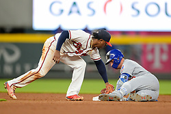 May 15, 2018 - Atlanta, GA, U.S. - ATLANTA, GA Ð MAY 15:  Cubs outfielder outfielder Albert Almora, Jr. (5) hits a double to begin the 9th inning during the game between Atlanta and Chicago on May 15th, 2018 at SunTrust Park in Atlanta, GA. The Chicago Cubs defeated the Atlanta Braves by a score of 3 -2.  (Photo by Rich von Biberstein/Icon Sportswire) (Credit Image: © Rich Von Biberstein/Icon SMI via ZUMA Press)