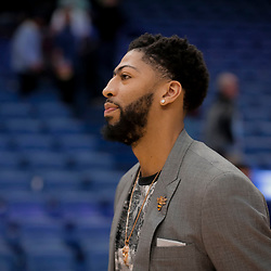Apr 3, 2019; New Orleans, LA, USA;  New Orleans Pelicans forward Anthony Davis walks off the court following a game against the Charlotte Hornets at the Smoothie King Center. Mandatory Credit: Derick E. Hingle-USA TODAY Sports