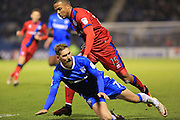 Scott Wagstaff, Joe Thompson during the EFL Sky Bet League 1 match between Gillingham and Rochdale at the MEMS Priestfield Stadium, Gillingham, England on 26 November 2016. Photo by Daniel Youngs.