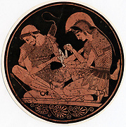 Achilles, hero of Homer's epic poem 'Iliad', bandaging the wound of his firend Patroclus. Decoration on the base of an antique vase