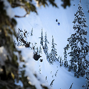 Owen Dudley and Tyler Hatcher hike up the belly of the Widow Maker Face in the backcountry near Mount Baker Ski Area.