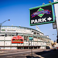 Wrigley Field and Wrigleyville Sign. Home to the Chicago Cubs, Wrigley Field is one of the oldest baseball stadiums in the United States. Wrigleyville is a popular attraction for Cubs fans with a multitude of bars and restaurants.