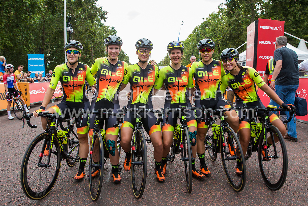 London, UK. 3 August, 2019. Ale Cipollini (Italy) pose for a team photograph before the Prudential RideLondon Classique. The Classique, which is the richest one-day women's race in the world, covers 20 laps of a tight circuit of 3.4 kilometres around St James's Park and Constitution Hill.