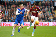 Aston Villa defender Neil Taylor (3) battles for possession  with Ipswich Town striker Freddie Sears (20) during the EFL Sky Bet Championship match between Aston Villa and Ipswich Town at Villa Park, Birmingham, England on 26 January 2019.