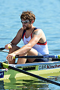 Varese,  ITALY. 2012 FISA European Championships, Lake Varese Regatta Course. ..GBR M4X. Bow Dan RITCHIE,  at the start of their heat of the Men's Quadruple Sculls Four...{TIME  {DOW}  14/09/2012.....[Mandatory Credit Peter Spurrier:  Intersport Images]  ..2012 European Rowing Championships ..Rowing, European,  2012 010752.jpg....