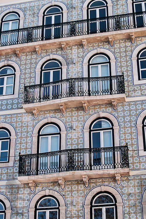 Lisbon, November 2012. Traditional portuguese glazed tile facade with balconies at Bairro Alto district