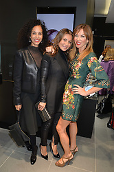 Left to right, JEANETTE CALLIVA, ELLA KRASNER and HEATHER KERZNER at the opening of the new Gismondi Jewellery boutique, 14 Albermarle Street, London on 9th October 2014.