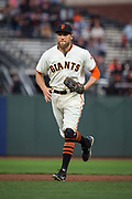 San Francisco Giants right fielder Hunter Pence (8) runs in from right field during a MLB game against the Milwaukee Brewers at AT&T Park in San Francisco, California, on August 21, 2017. (Stan Olszewski/Special to S.F. Examiner)