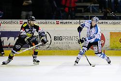30.10.2016, Messestadion, Dornbirn, AUT, EBEL, Dornbirner Eishockey Club vs EHC Liwest Black Wings Linz, 16. Runde, im Bild Matt Siddall, (Dornbirner Eishockey Club, #39) und Daniel Oberkofler, (EHC Liwest Black Wings Linz, #74) // during the Erste Bank Icehockey League 16th round match between Dornbirner Eishockey Club and EHC Liwest Black Wings Linz at the Messestadion in Dornbirn, Austria on 2016/10/30, EXPA Pictures © 2016, PhotoCredit: EXPA/ Peter Rinderer