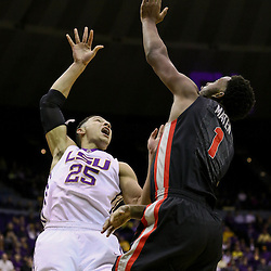 Jan 26, 2016; Baton Rouge, LA, USA; LSU Tigers forward Ben Simmons (25) shoots over Georgia Bulldogs forward Yante Maten (1) during the first half of a game at the Pete Maravich Assembly Center. Mandatory Credit: Derick E. Hingle-USA TODAY Sports