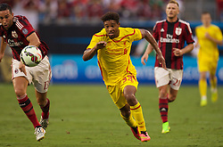 CHARLOTTE, USA - Saturday, August 2, 2014: Liverpool's Jordon Ibe in action against AC Milan during the International Champions Cup Group B match at the Bank of America Stadium on day thirteen of the club's USA Tour. (Pic by Mark Davison/Propaganda)