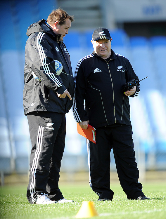 Coaches Steve Hansen, left and Aussie McLean at the New Zealand rugby teams training for the test against South Africa, Carisbrook, Dunedin, New Zealand, Thursday, Septmber 13, 2012. Credit:SNPA / Ross Setford