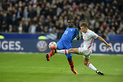 29.03.2016, Stade de France, St. Denis, FRA, Testspiel, Frankreich vs Russland, im Bild kante n'golo, shatov oleg // during the International Friendly Football Match between France and Russia at the Stade de France in St. Denis, France on 2016/03/29. EXPA Pictures © 2016, PhotoCredit: EXPA/ Pressesports/ Jerome Prevost<br /> <br /> *****ATTENTION - for AUT, SLO, CRO, SRB, BIH, MAZ, POL only*****