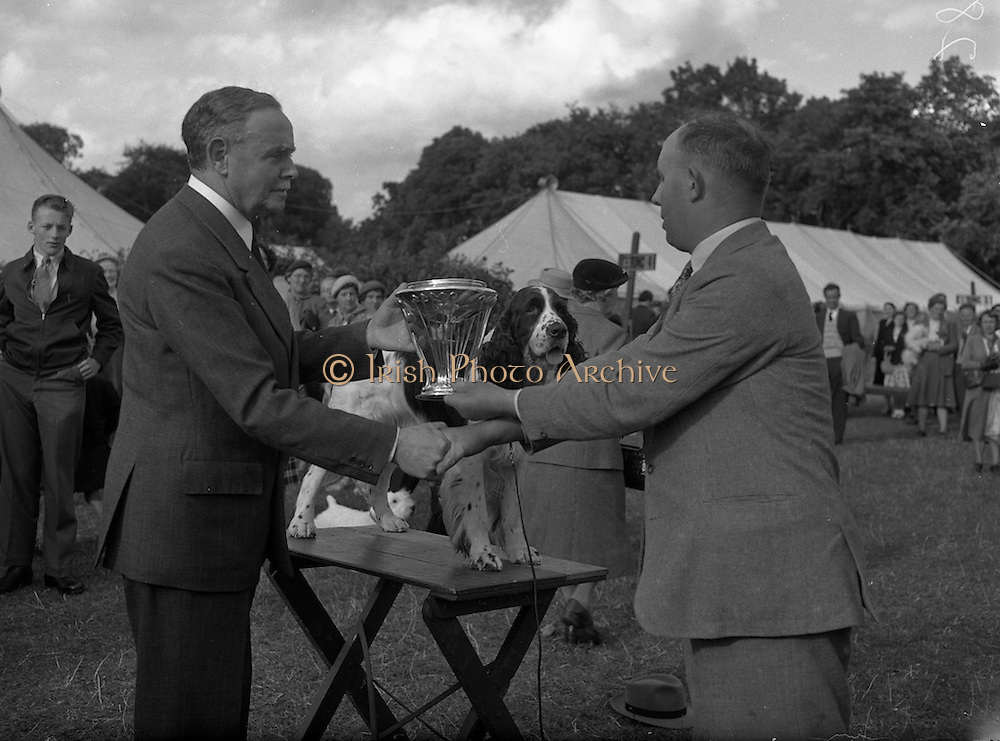 """04/08/1952 <br /> 08/04/1952<br /> 04 August 1952  <br /> Dog Show, 18th Annual Green Star Championship at Monkstown, Co. Dublin. Lt. Col. A.G. Doherty, Judge and former President R.V.A.S.I., presenting the Smiles Trophy to Mr. F.J. Burton 15 Ardpatrick Gardens, Belfast, for his English Springer Spaniel """"Pasty of Ardrick""""."""