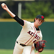 15 April 2018: San Diego State pitcher Justin Goossen-Brown (48) seen here during the first inning against Fullerton. The San Diego State baseball team closed out the weekend series against Cal State Fullerton with a 9-6 win at Tony Gwynn Stadium. <br /> More game action at sdsuaztecphotos.com