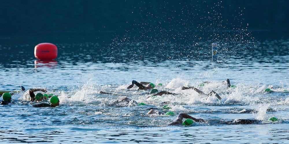 Men's Half Ironman Swim.  Best in the West Triathlon.  Half Ironman Triathlon at Foster Lake on 10 September 2011, Sweet Home, Oregon.