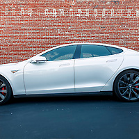 Tesla Model S electric car test driving at the offices of Think Big, in downtown Kansas City, Missouri. August 20, 2015.