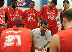 Bristol Flyers' coach, Andreas Kapoulas instructs his players  in the BBL game between Bristol Flyers and Worcester Wolves at Wise Basketball Arena on January 17, 2015 in Bristol, England. - Photo mandatory by-line: Paul Knight/JMP - Mobile: 07966 386802 - 17/01/2015 - SPORT - Football - Bristol - SGS Wise Arena - Bristol Flyers v Worcester Wolves - Bristol Basketball League