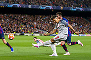 Liverpool striker Roberto Firmino (9) crosses the ball during the Champions League semi-final leg 1 of 2 match between Barcelona and Liverpool at Camp Nou, Barcelona, Spain on 1 May 2019.
