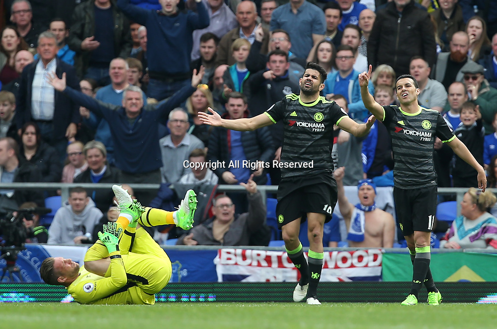 April 30th 2017, Goodison Park, Liverpool, England; EPL Premier league football, Everton versus Chelsea; Diego Costa of Chelsea reacts as the referee awards him a yellow card for his foul on Maarten Stekelenburg, Everton goalkeeper