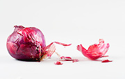 Red onions, (purple onions), On white Background