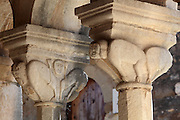 Stone sculpted creatures on the capital of a column on the exonarthex of the Church of St Mary, 13th century, in the Ardenica Monastery, an Eastern Orthodox monastery near Apollonia, Fier, Albania. 8 of these capitals all display various monsters and fantastic creatures. The church is of Byzantine-orthodox architecture but with many Romanesque features, and contains frescoes by Kostandin and Athanas Zografi which date to 1744. The monastery was founded in 1282 by Andronikos II Palaiologos and is dedicated to the Byzantine victory over the Angevins in Berat during the Siege of Berat of 1280ñ81. Picture by Manuel Cohen