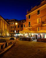 MONTEROSSO AL MARE, ITALY - CIRCA MAY 2015:  Streets of Monterroso Al Mare at night in Cinque Terre, Italy.