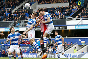 QPR defender Jake Bidwell (3), QPR defender Jack Robinson (18) and Sunderland forward Ashley Fletcher (9) battle for the ball in the air during the EFL Sky Bet Championship match between Queens Park Rangers and Sunderland at the Loftus Road Stadium, London, England on 10 March 2018. Picture by Andy Walter.