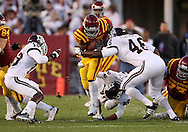 25 OCTOBER 2008: Iowa State running back Alexander Robinson (33) is hit by Texas A&M linebacker Matt Featherston (46) in the first half of an NCAA college football game between Iowa State and Texas A&M, at Jack Trice Stadium in Ames, Iowa on Saturday Oct. 25, 2008. Texas A&M beat Iowa State 49-35.
