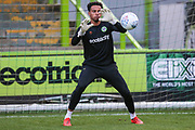 Forest Green Rovers goalkeeper Joe Wollacott(13), on loan from Bristol City warming up during the Leasing.com EFL Trophy match between Forest Green Rovers and Coventry City at the New Lawn, Forest Green, United Kingdom on 8 October 2019.
