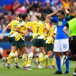 Team of Australia celebrates his first scoring during the Women's World Cup match between Australia and Brazil at Stade de la Mosson on June 13, 2019 in Montpellier, France. (Photo by Alexandre Dimou/Icon Sport)