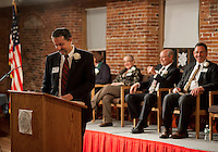 Mayor Edward Engler addresses the audience after his inauguration at Belknap Mill Monday evening.  (Karen Bobotas/for the Laconia Daily Sun)