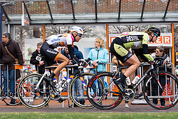 Moniek Tenniglo in the break as they enter the final local lap - Energiewacht Tour 2016 - Stage 3. A 131 km road race finishing in Stadskanaal, Netherlands on April 8th 2016.