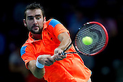 Marin Cilic of Croatia competes at first single match during the BNP Paribas Davis Cup 2014 between Poland and Croatia at Torwar Hall in Warsaw on April 4, 2014.<br /> <br /> Poland, Warsaw, April 4, 2014<br /> <br /> Picture also available in RAW (NEF) or TIFF format on special request.<br /> <br /> For editorial use only. Any commercial or promotional use requires permission.<br /> <br /> Mandatory credit:<br /> Photo by &copy; Adam Nurkiewicz / Mediasport