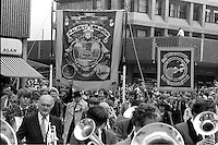 Maltby and Shireoaks banners, 1983 Yorkshire Miner's Gala. Barnsley