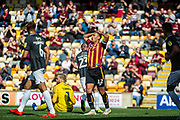 Bradford City Captain James Vaughan disappointed after a good chance to score during the EFL Sky Bet League 2 match between Bradford City and Northampton Town at the Utilita Energy Stadium, Bradford, England on 7 September 2019.