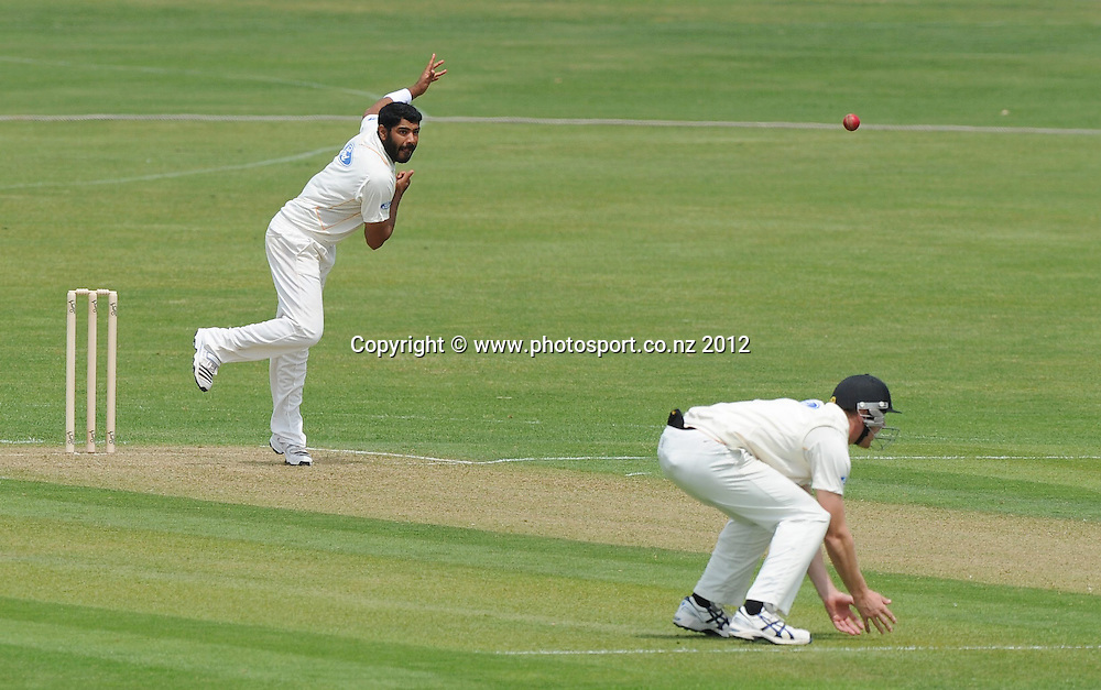Wellington Firebirds Jeetan Patel bowls in the Plunket Shield Cricket match, Central Stags vs Wellington Firebirds, Nelson Park, Napier, New Zealand. Sunday 28 October 2012. Photo: Kerry Marshall / photosport.co.nz