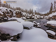 The Firehole River in winter in Yellowstone National Park, Wyoming, USA