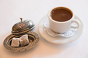 Turkish coffee and lokum, Turkish delight sweets, in Restaurant Asitane in the area of Kariye, Edirnekapi in Istanbul