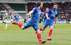 Jack Marriott of Peterborough United celebrates scoring his goal with team-mate Gwion Edwards - Mandatory by-line: Joe Dent/JMP - 07/04/2018 - FOOTBALL - Home Park - Plymouth, England - Plymouth Argyle v Peterborough United - Sky Bet League One