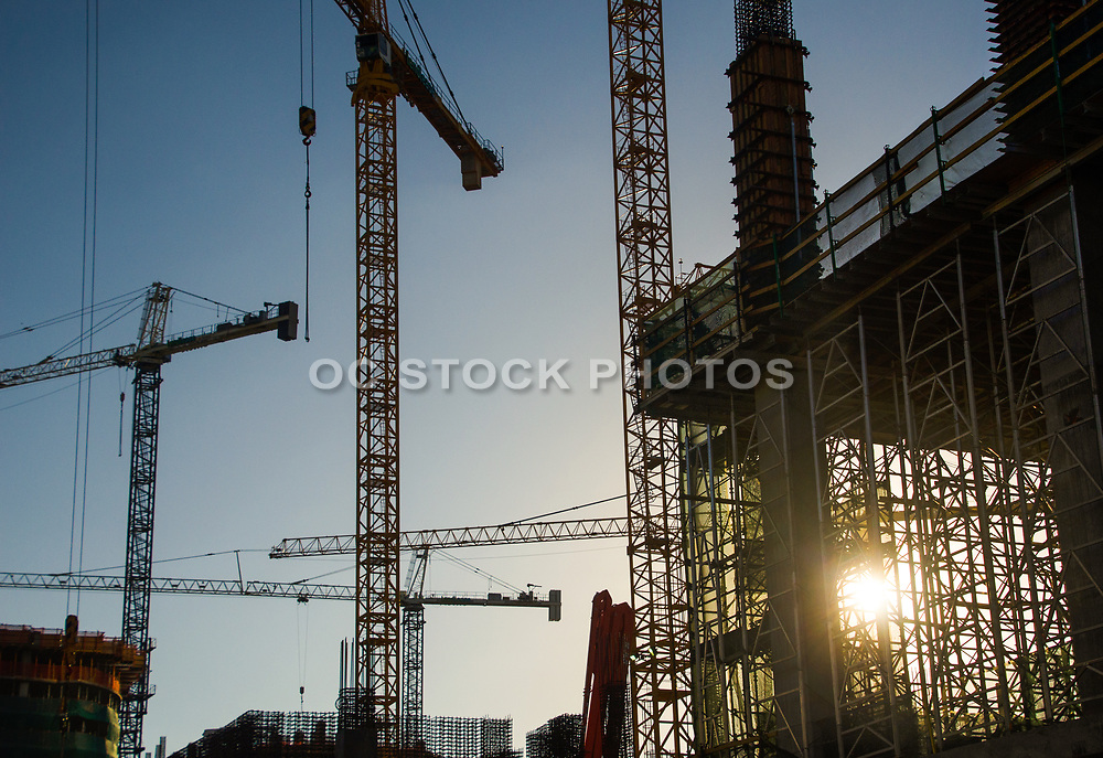 Cranes Working at Construction Site