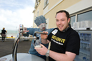 Kenny Maguire from Claremorris Co. Mayo pulls his own Pint at the Budweiser Ice Cold Summer BBQ, broadcast live on the Tony Fenton Show at The Galway Bay Hotel in Salthill. Photo:Andrew Downes.. .Both Duke Special and The Divine Comedy performed at the summer kick-off party and Today FM's Tony Fenton Show broadcast live from the hotel all afternoon...The 150 invited guests included Today FM listeners ad Budweiser Ice Cold Facebook fans from all over the country. Guests also won the chance to win a cool Grand in cash, meet Mr. Iceman and of course enjoy a pint of Budweiser Ice Cold, the coldest pint ever!..Enjoy Budweiser Ice Cold sensibly visit www.drinkaware.ie ..This event was strictly over 18's,..-ENDS-..FOR FURTHER INFORMATION PLEASE CONTACT:.Killian Burns / Aoiffe Madden..Killian.burns@ogilvy.com / aoiffe.madden@ogilvy.com.WHPR..Tel: 01 6690030.