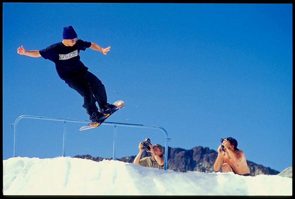 Jamie Lynn drifts a frontside Lipslide on Horstman Glacier, Blackcomb, BC, Canada, in 1992.