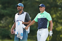 August 9, 2018 - St. Louis, Missouri, United States - Jordan Spieth (R) and his caddie Michael Greller walk of the tee during the first round of the 100th PGA Championship at Bellerive Country Club. (Credit Image: © Debby Wong via ZUMA Wire)