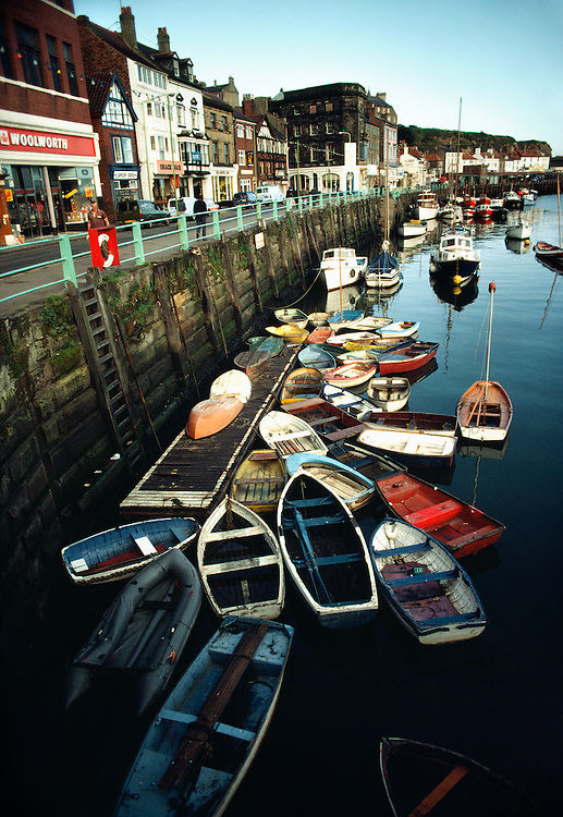 England, Yorkshire, wooden boats in Whitby harbor