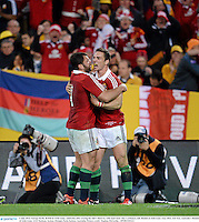 6 July 2013; George North, British & Irish Lions, celebrates after scoring his side's third try with team-mate Alex Corbisiero, left. British & Irish Lions Tour 2013, 3rd Test, Australia v British & Irish Lions. ANZ Stadium, Sydney Olympic Park, Sydney, Australia. Picture credit: Stephen McCarthy / SPORTSFILE