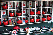 ANAHEIM, CA - MAY 17:  Batting helmets, bats, gloves, caps, and other gear is stowed in the dugout bins before the Los Angeles Angels of Anaheim game against the Tampa Bay Rays at Angel Stadium on Saturday, May 17, 2014 in Anaheim, California. The Angels won the game in a 6-0 shutout. (Photo by Paul Spinelli/MLB Photos via Getty Images)